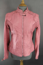 SCOTTI KNIGHTS PINK LEATHER BIKER JACKET WITH THERMAL LINING: 34 INCH/LARGE