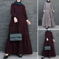 ZANZEA Women Muslim Jilbab Abaya Casual Loose Plaid Check Tiered Long Maxi Dress
