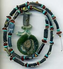 """Roman Ancient Green Blue Glass Beads, Pendant Turquoise Amber Disks Heishi 18"""""""