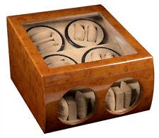 Watch Winder Display Storage Case Box Walnut Wood Dual Double Quad 8+4 Automatic
