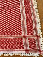 Vintage Hand Embroidered Red Tablecloth Tassle Trim 45� Square