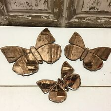 Set of 3 Vintage Style Antique Bronze Butterfly Mirrors Wall Decoration Pretty