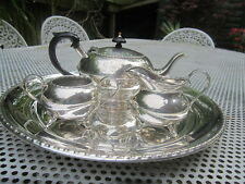 Old Art Deco Period Silver Plate Sheffield Teekanne Tea Pot Jug Sugar Bowl Set