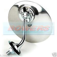 LEFT HAND LUCAS STYLE ADJUSTABLE CHROME ROUND EXTERIOR DOOR MIRROR CLASSIC CAR