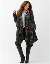 NWOT Lane Bryant Womens Coat 26/28 Aztec Blanket with Faux Leather Sleeves