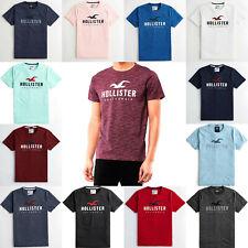Hollister California Applique Logo Graphic T-ShIrt Crew Neck Short Sleeve cotton
