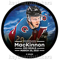 Nathan MacKinnon #29 Colorado Avalanche 200 Goals Hockey Puck - March 23, 2021