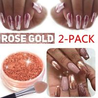 2Box Rose Gold Inkling Chrome Mirror Effect Nail Powder Dust Polish Pigment Nail
