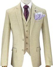 Mens Designer Tweed Beige Checked Vintage Blazer Jacket Formal / Casual
