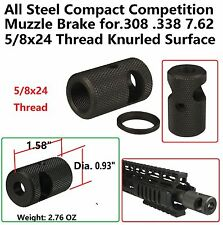 5/8x24 Thread Compact Competition Muzzle Brake for 308 .308 .338 7.62 Knurled