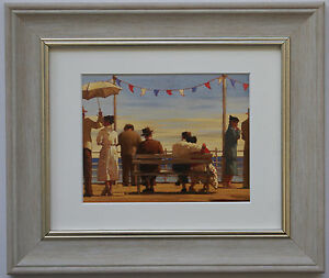 The Pier by Jack Vettriano Framed & Mounted Art Print Grey