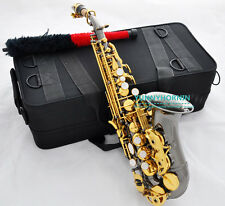Advanced Curved Soprano Saxophone High F# Black Nickel Gold Bb Sax New Saxofon