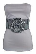 Women Belt Wide Corset Stretch Waistband Silver Faux Leather Flower Zipper S M L