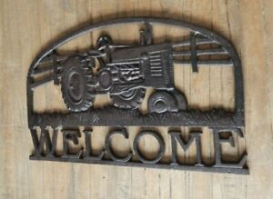 Cast iron Tractor WELCOME sign Farming theme Rustic style UK seller