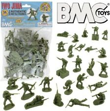 BMC 54mm Iwo Jima WWII US Marines Olive Plastic Figures Set 40034 NEW In Bag!