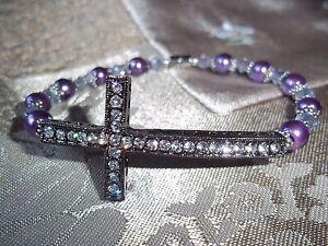 7 1/2 in PURPLE Pearl & PURPLE Crystal Bead Cross MAGNETIC Clasp Bracelet  L-13