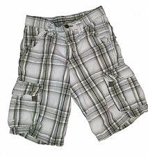 Wrangler boys plaid cargo shorts - size 8 regular - white green adjustable waist