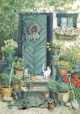 Kunstkarte: Inge Löök - Weiße Katze vor Eingangstür / Nr. 109