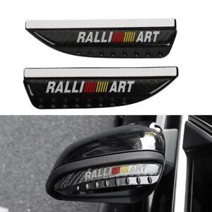 Ralliart Carbon Fiber Rear View Side Mirror Visor Shade Rain Shield Water Guard