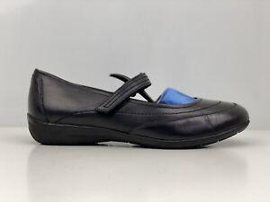 Footglove Womens Black Leather Mary Jane Flat Shoe UK Size 6