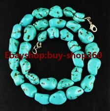 "Pretty 10-12mm Turkey Irregular Turquoise Gemstone Chunk Necklace long 24"""