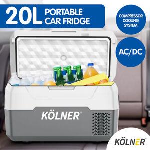 Kolner 20L Portable Fridge Freezer Cooler 12/24/240V Camping Refrigerator Grey