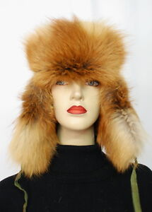 US456 Stylish Women Aviator Trapper Fox Fur Hat Cap MEX Fuchs Mütze ~ US 7 1/8