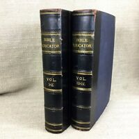 Antico pelle Delimitati Libri Christian Bibbia Study Vittoriano Theology 2 Vol.