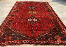 Authentic Hand Knotted Vintage Shrz Pictorial Wool Area Rug 8 x 6 (939 Hm)