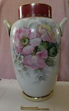 """NIPPON 12"""" TALL Hand Painted Floral & Gold Gilt 2 Handle Vase Exquisite"""
