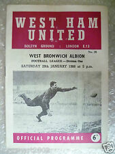 1966 WEST HAM UNITED v WEST BROMWICH ALBION, 29th Jan (League Division One)