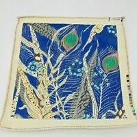 Hand Painted Needlepoint Pattern Canvas Peacock Feathers Royal Blue Fancy Work