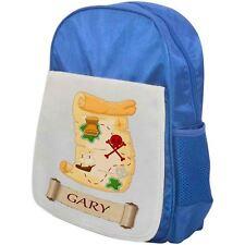 Personalised Childrens Pirate Backpack - Treasure Map - School Bag - Blue