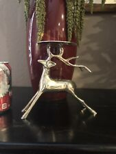 "Pottery Barn Silver Plated Reindeer Pillar Candle Holder 7"" Tall 7.5"" Wide India"