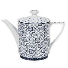 NEW TED BAKER LANGDON BLUE+WHITE CERAMIC TEA+COFFEE POT,TEAPOT(5.25 CUPS 42 OZ.)