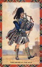 Scottish Bagpipes - Pipers & Dancers Series Bagpiper Kilt Costumes Postcard