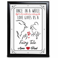 Personalised Beauty & The beast Fairy Tale Anniversary Gift Wedding Disney Print