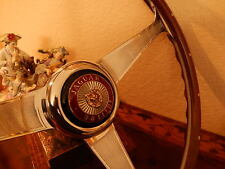 "Jaguar 3.8  Wood Steering Wheel Nardi 15"" Engraved + Rivets Orig 3.8 Center NOS"