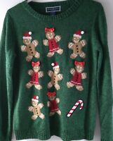 ugly christmas sweater karen scott petites womens color green 100% acrylic 92054