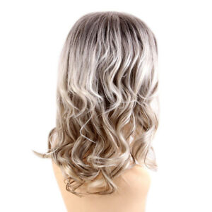 Blonde Mixed Curly Women Wig Bangs Human Hair Full Wigs Wave Wig Breathable