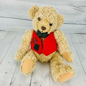 Hallmark Tan 1995 Tyler Teddy Bear Plush With Vest And Bowtie Soft Toy Christmas