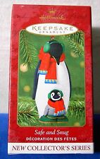 Hallmark 2001 Safe And Snug # 1 porcelain Keepsake Christmas Ornament penguin