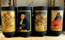 SET OF 4 VINTAGE DRINKING GLASSES/TUMBLERS BARWARE WITH FAMOUS PAINTINGS