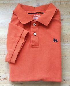 OLD NAVY Rugby Polo Short Sleeve Orange Lion Embroidered Logo Men Sz M