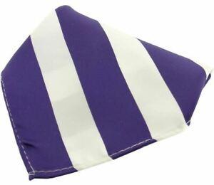 David Van Hagen Mens Striped Polyester Pocket Square - Purple/White