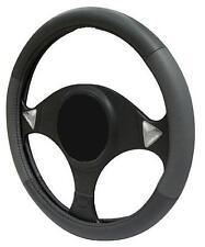 Gris/Negro De Cuero Volante Cubierta 100% cuero se adapta Daihatsu