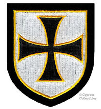 CHRISTIAN MILITARY SHIELD EMBROIDERED PATCH CRUCIFIX CROSS CRUSADE iron-on BLACK