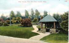 Unused Antique Color Postcard Well House Fort Hill Park Lowell Massachusetts