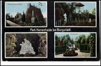 Burgstädt Park Herrenhaide um 1920 AK Irrgarten Barbarossa Höhle Kyffhäuser