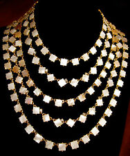 KATE SPADE SET RARE PEARL COVE 5 STRAND BIB NECKLACE EARRINGS MOTHER OF PEARL